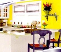 Neon yellow is an aggressive paint color but can work in a busy kitchen