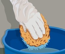 Never use a sponge dry, and keep it damp at all times during painting