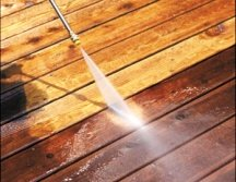Pressure cleaning wood before staining