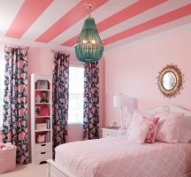 Ceiling paint stripes create a jewel-box effect