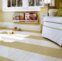 Boarded floors can be paint striped without guide lines