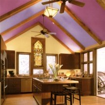 Beamed ceilings are easy to paint stripe