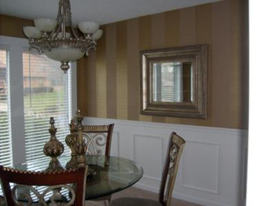 Wide metallic stripes on our dining room walls