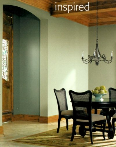 Stained woodwork with sage green walls