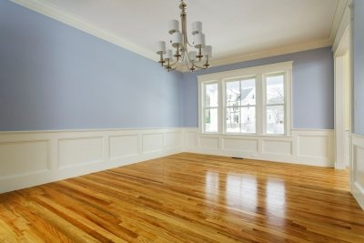Unfurnished painted room with wooden floors