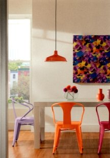 Pops of bright color accents are a great way to dress up white walls